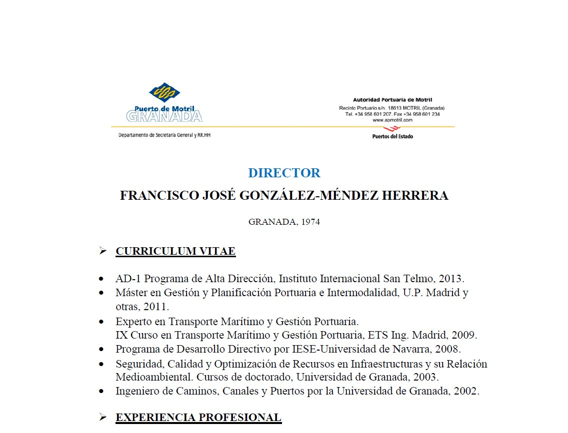 Curriculum Vitae Director of Port Francisco José González-Méndez Herrera 2020